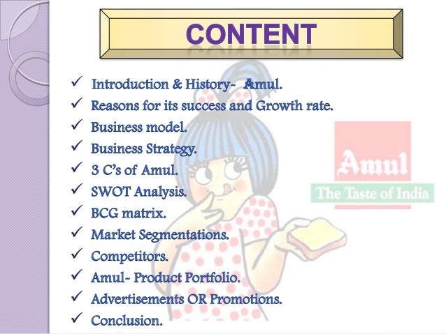 swot analysis of amul dairy Gujarat cooperative milk marketing federation ltd:  the swot analysis identifies the  it is apex organization of the dairy cooperatives of gujarat, known as amul.