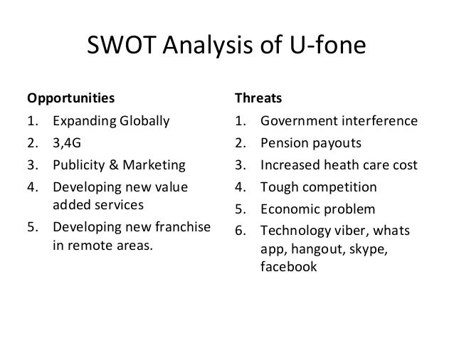 swot analysis u fone Using a swot analysis both a small-business owner and the business itself can benefit from a swot analysis a small-business owner can, for example, use a swot analysis when creating a business .