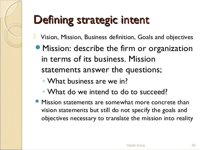 what is strategic intent in strategic management