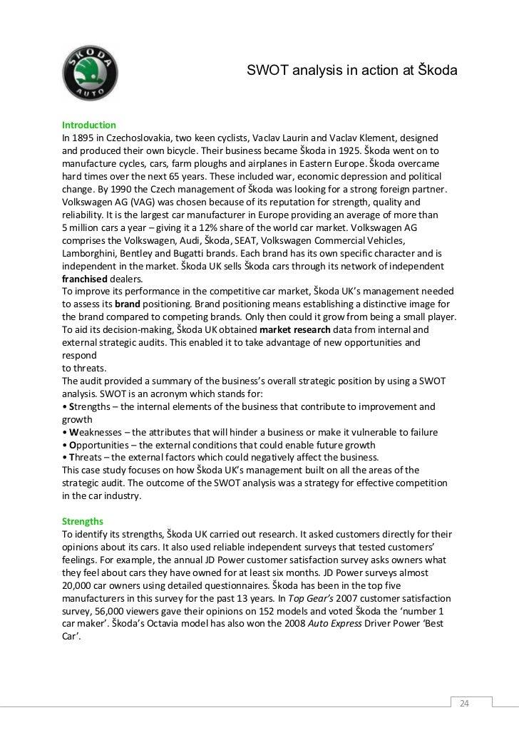 Summary of the skoda case study essay