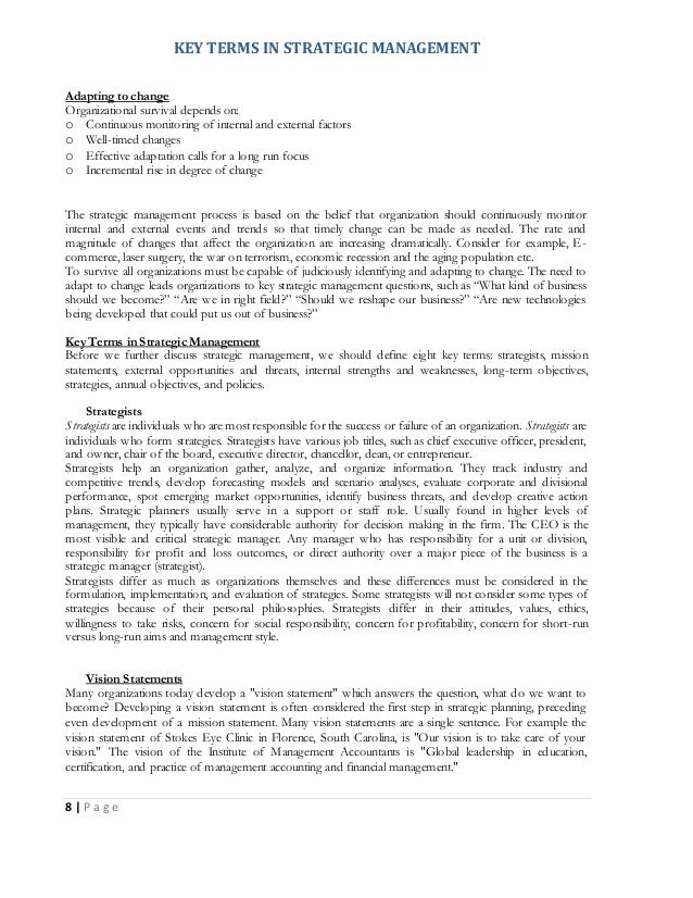 strategic management notes The below said is the list of topics which provides strategic management notes for mba students and for other fields also such as bba, mbs, etc.