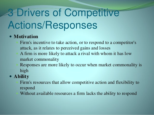 "drivers of competitive actions and responses Which emerging competitors pose a threat to our company and why • what new   crisis) and ""micro"" drivers (the launch of a competitor's  insights and  recommendations into tangible actions  activity, it can improve its response  time."