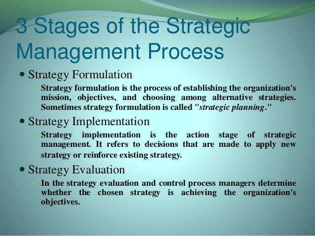 Strategies formulation and implementation