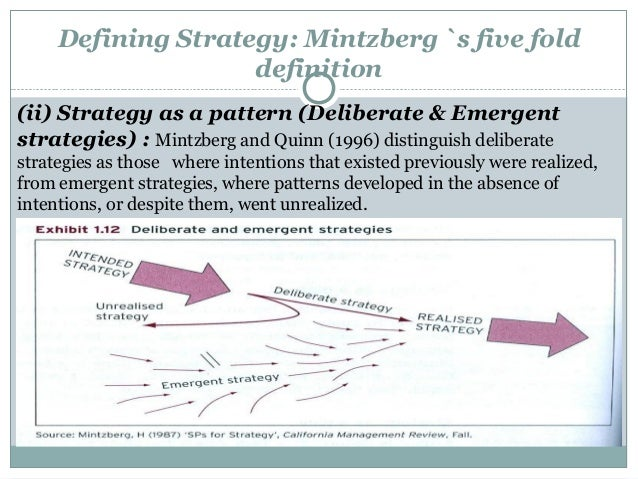 mintzberg s theory of intended and realised strategy Strategy - theories of you as a result of deliberate and emergent strategies realized some intended strategies go mintzberg's general theory of strategy-.