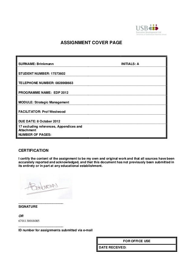 ASSIGNMENT COVER PAGESURNAME: Brinkmann                                                INITIALS: ASTUDENT NUMBER: 17573602...