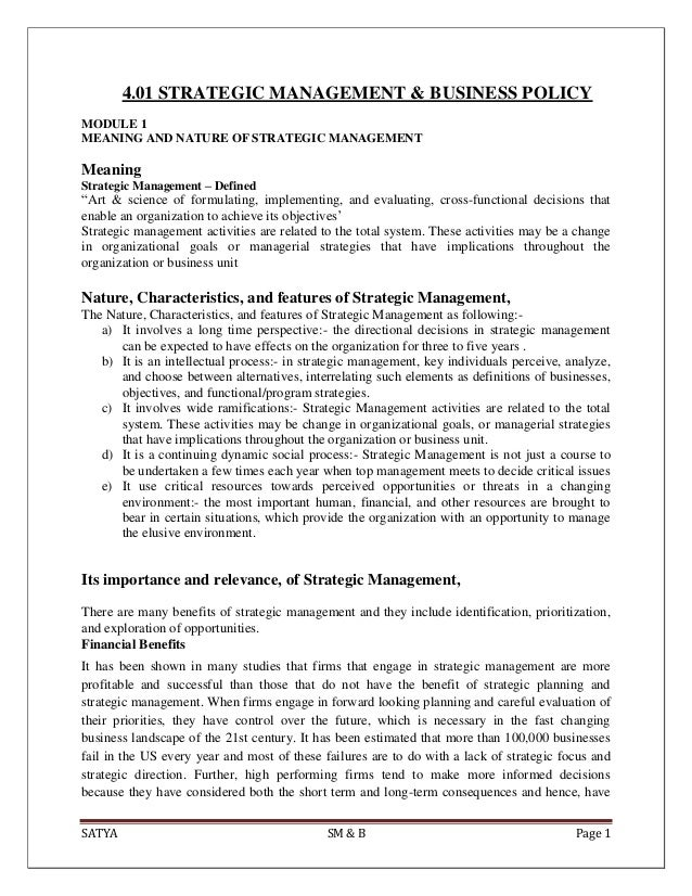 SATYA SM & B Page 14.01 STRATEGIC MANAGEMENT & BUSINESS POLICYMODULE 1MEANING AND NATURE OF STRATEGIC MANAGEMENTMeaningStr...