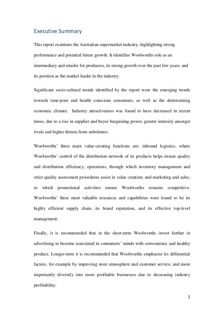 Research paper executive summary sample – 1 Page Executive Summary Template