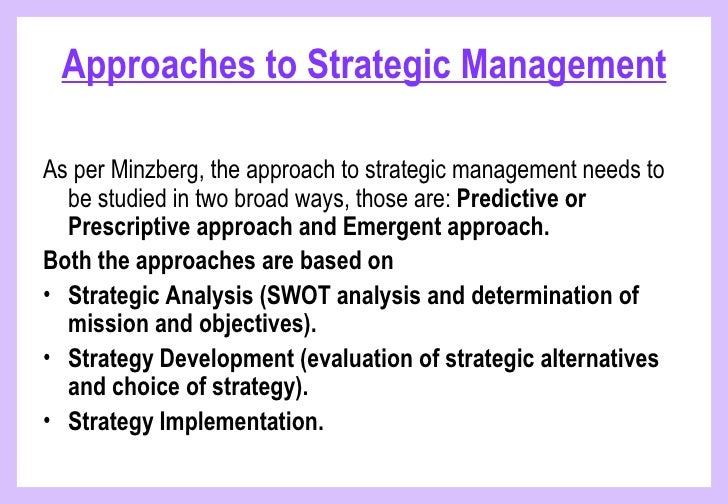 Prescriptive and emergent strategies