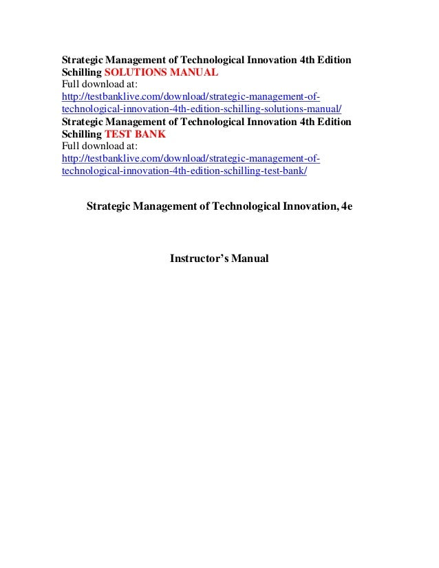 Strategic management of technological innovation 4th edition schillin strategic management of technological innovation 4th edition schilling solutions manual full download at http fandeluxe Gallery