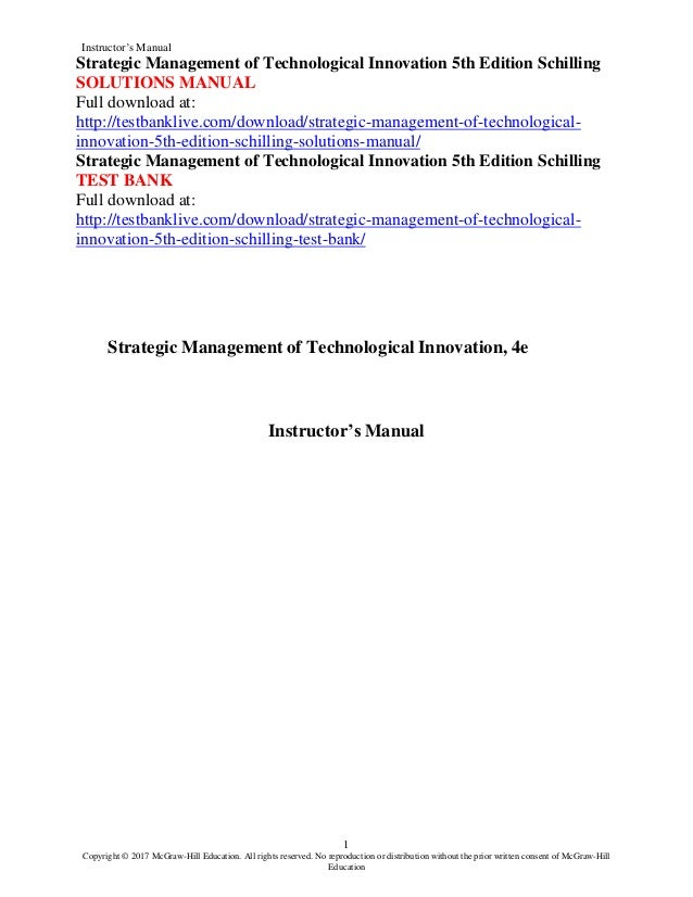 Strategic Management Of Technological Innovation 5th Edition Schillin