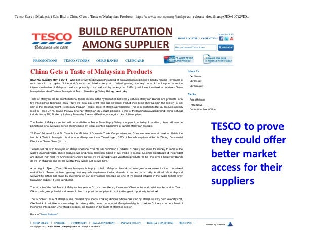 supply and demand of tesco in malaysia This is insufficient to cater to the demand by 50 per cent of households in malaysia earning up to the median income napic data also suggests that the issue of unsold affordable houses of below rm300,000 is the least severe compared with other price ranges.