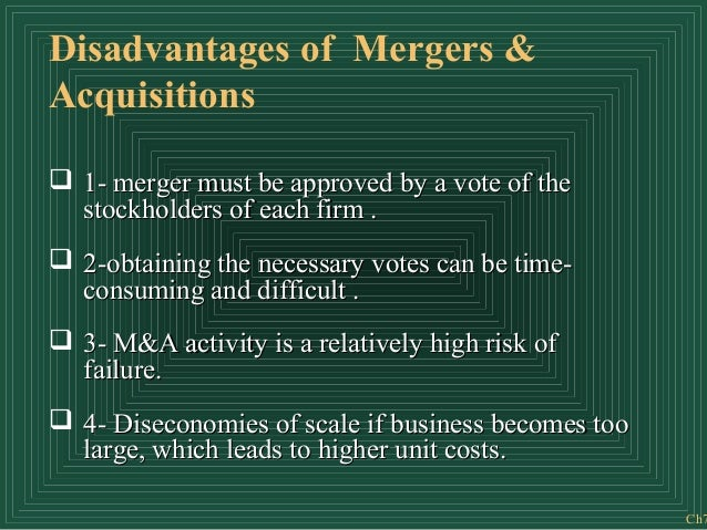 disadvantages involving combination in addition to acquisition