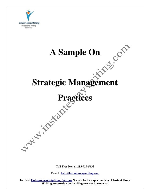 sample report on strategic management practices by instant essay writ   instant essay writing toll no 1 213 929 5632 e mail help