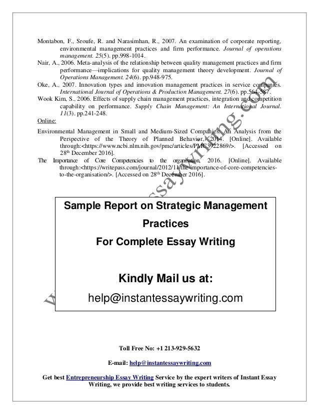 sample report on strategic management practices by instant essay writ  sample report on strategic management practices for complete essay writing kindly mail us at help instantessaywriting com 9