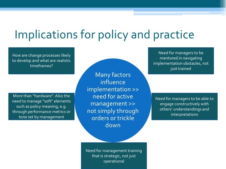 definition of policy implementation Ognition of the need for reliable, relevant research to inform the implementation of health policies and programmes implementation research in health.