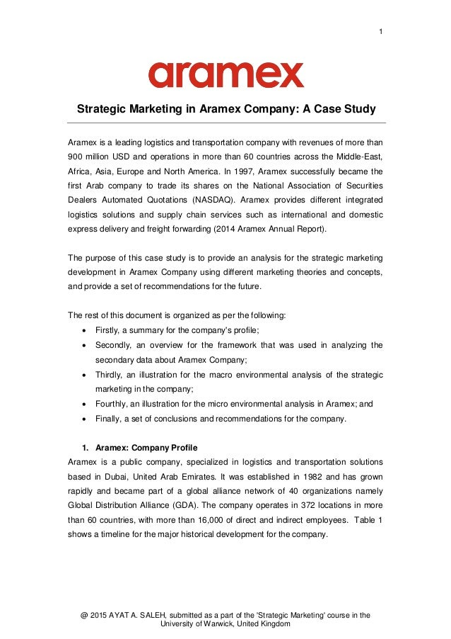 strategic marketing in aramex company  a case study