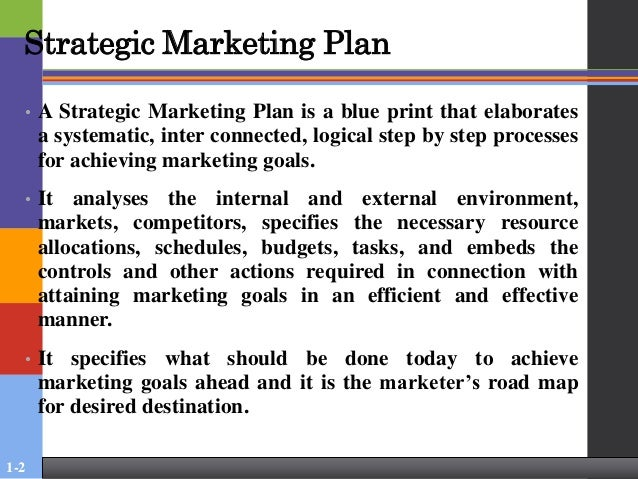 strategic marketing plan A good marketing plan spells out all the tools and tactics you'll use to achieve your sales goals it's your plan of action—what you'll sell, who'll want to buy it and the tactics you'll.