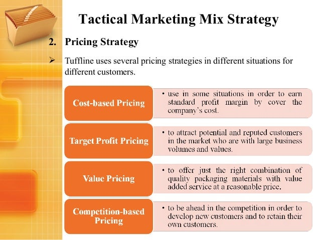 marketing pricing strategy Figuring out how much to charge for your product—for example, determing whether it's more practical to charge by unit or through yearly contracts—is ultimately a strategic planning question in fact, the pricing of a product is one of the most important aspects of your marketing strategy, which.