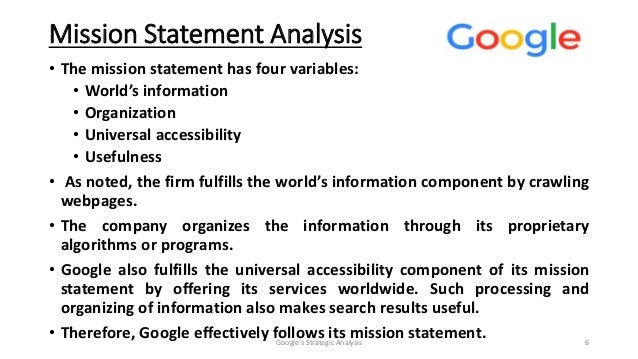how is googles mission statement related to its business strategy