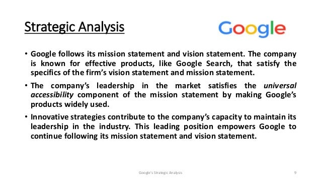google mission statement Click inside to find the most current google mission statement online the  mission is evaluated using our unique framework.