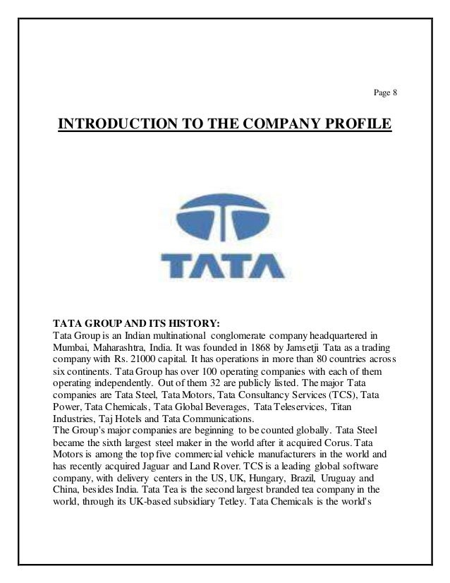 tata group aims objective and misson Tata powers has always stood firmly by it's vision, mission and company values   safety safety is a core value over which no business objective can have a.