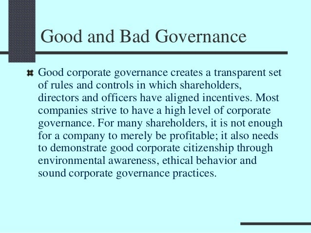 examples of negative corporate governance
