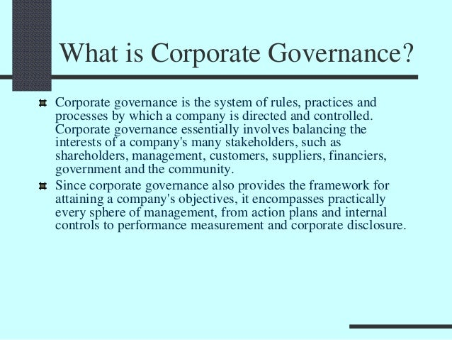 Corporate Governance And Role In Strategic Management
