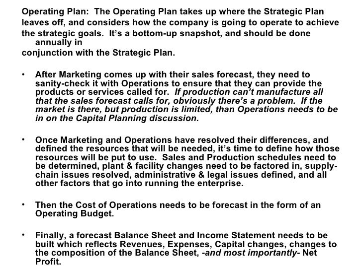 Strategic Operational Business Planning An Overview - Business operating plan template