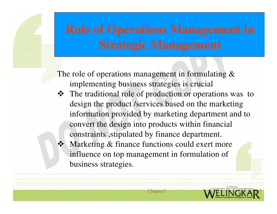 the role and importance of operations management Operations management is a fundamental part of any organization why operations management is important for your company why operations management is important for your company related book operations management for dummies by mary ann anderson.
