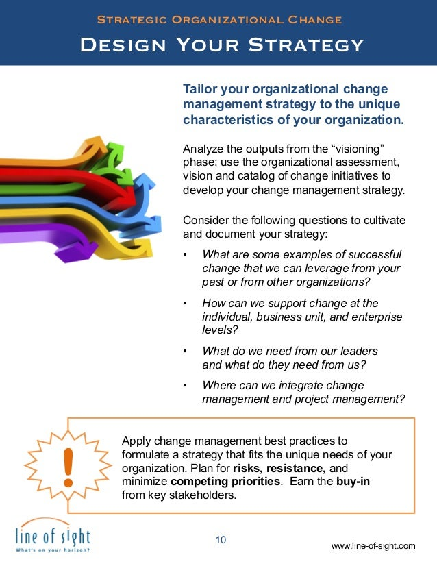 strategic drivers of organisational change The significance of change management is justified as the  drivers for change,  implementation and roles in an organization  we present strategies for.