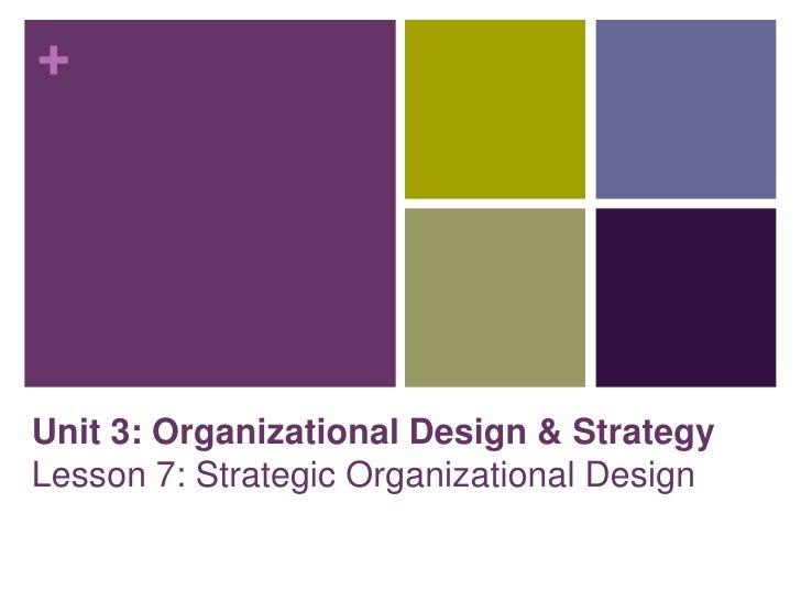 +Unit 3: Organizational Design & StrategyLesson 7: Strategic Organizational Design