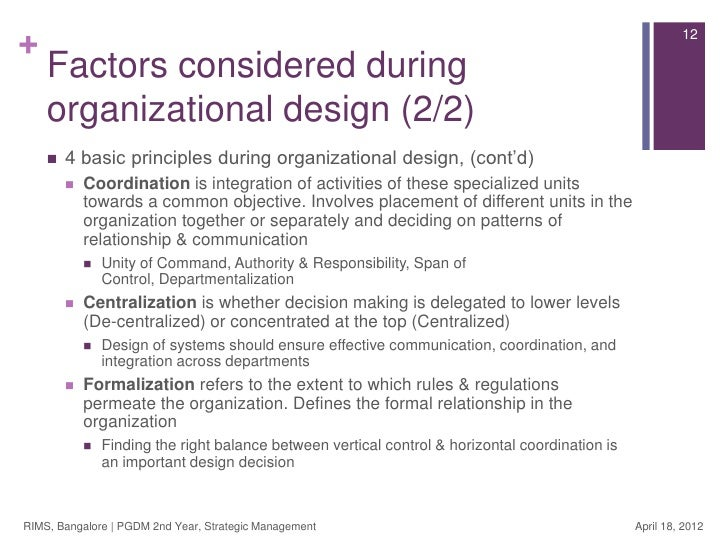 factors considered when designing organisational structure Chapter 15: foundations of organization structure what are you responsible to learn § list the factors that favor different organizational structures.