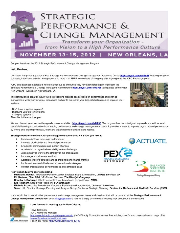 Get your hands on the 2012 Strategic Performance & Change Management ProgramHello Members,Our Team has pulled together a F...