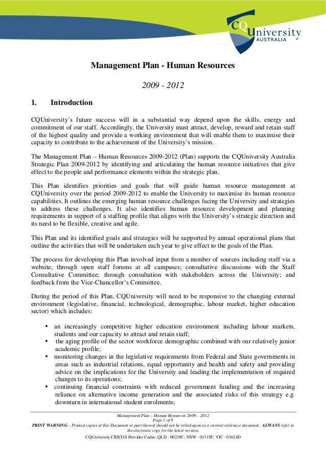 Management Plan – Human Resources 2009 – 2012 Page 1 of 9 PRINT WARNING – Printed copies of this Document or part thereof ...