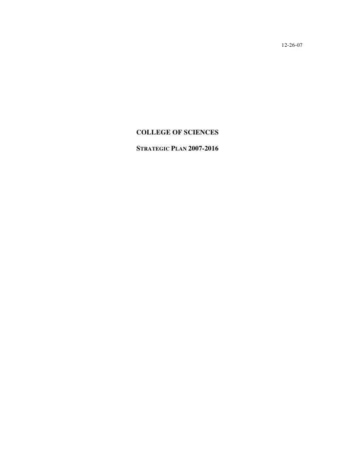 12-26-07COLLEGE OF SCIENCESSTRATEGIC PLAN 2007-2016