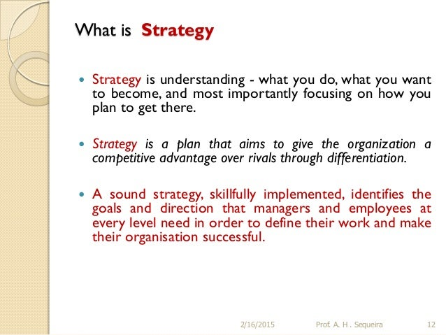 Perfect A. H . Sequeira 11; 12. What Is Strategy ...