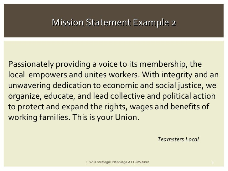 Purpose of a mission statement