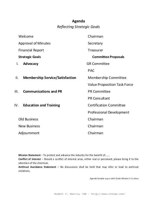 strategic plan agenda