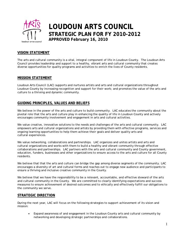 LOUDOUN ARTS COUNCIL                        STRATEGIC PLAN FOR FY 2010-2012                        APPROVED February 16, 2...