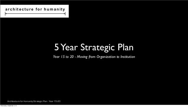 Architecture for Humanity Strategic Plan - Year 15-20 5Year Strategic Plan Year 15 to 20 - Moving from Organization to Ins...