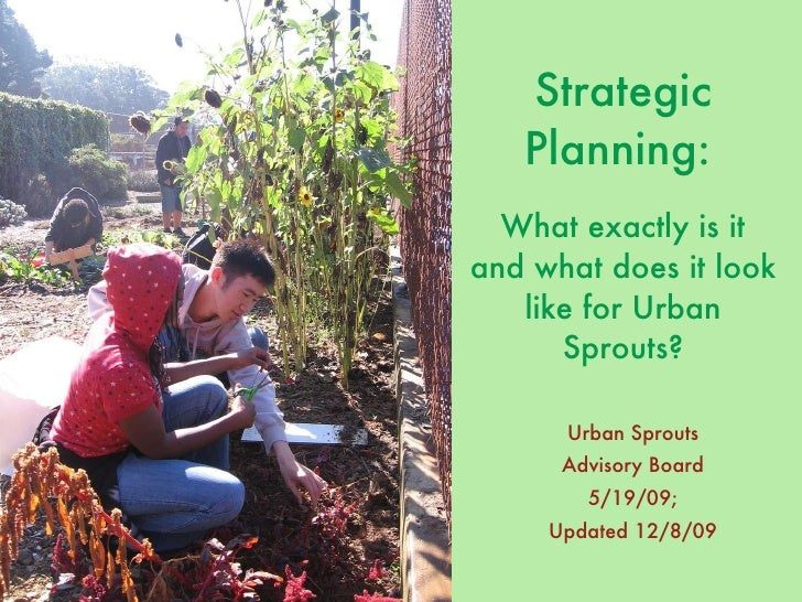 Strategic Planning:   What exactly is it and what does it look like for Urban Sprouts? <ul><li>Urban Sprouts </li></ul><ul...