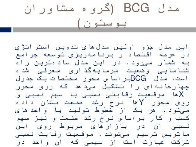 مدلBCG(مشاوران گروه بوستون) اینمدلجزواولینهایمدلتدویناستراتژی درعرصهاقتصادوریزیبرنامه...