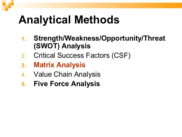 SWOT Analysis Strengths Weaknesses Opportunities Threats Mission An organization's fundamental purpose Good Strategies...