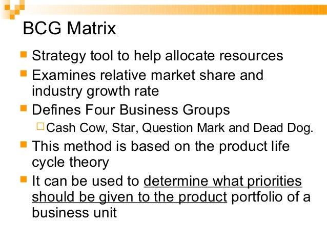 72. QUESTION MARKSTAR CASH COW DEAD DOG Relative position – market share high low Businessgrowth highlow BCG-BCG-MATRIXMAT...