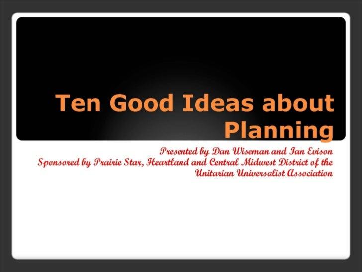 Strategic planning  - ready for fall 2009