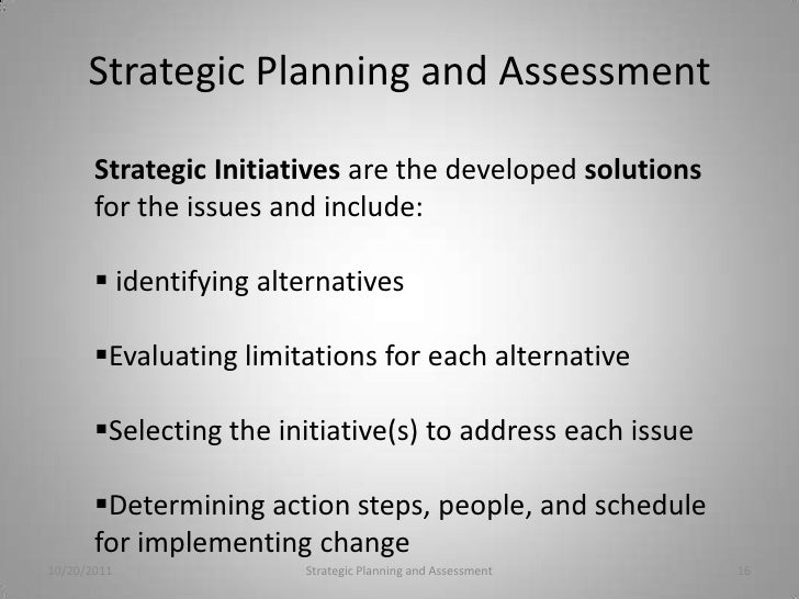 strategic planning and assessment  16