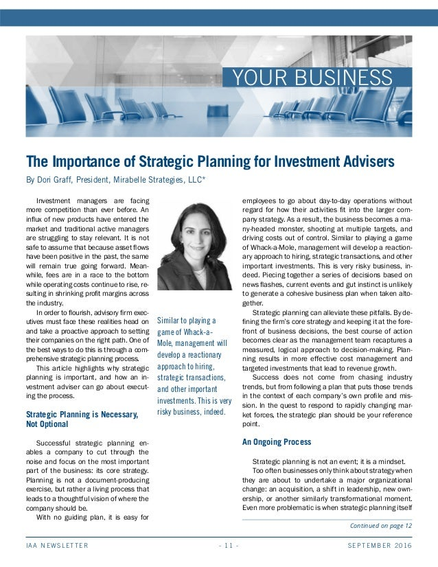 SEPTEMBER 2016IAA NEWSLETTER - 11 - YOUR BUSINESS Similar to playing a game of Whack-a- Mole, management will develop a re...