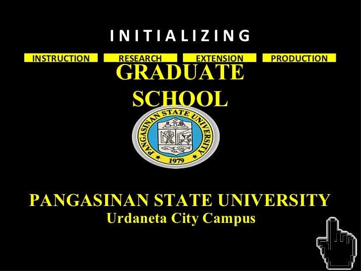 GRADUATE SCHOOL RESEARCH EXTENSION PRODUCTION I N I T I A L I Z I N G INSTRUCTION PANGASINAN STATE UNIVERSITY Urdaneta Cit...