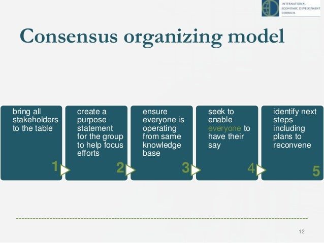 Consensus organizing model STEP1 bring all stakeholders to the table 1 STEP2 create a purpose statement for the group to h...