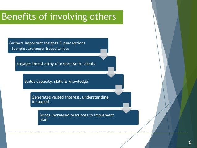 6 Benefits of involving others Gathers important insights & perceptions • Strengths, weaknesses & opportunities Engages br...
